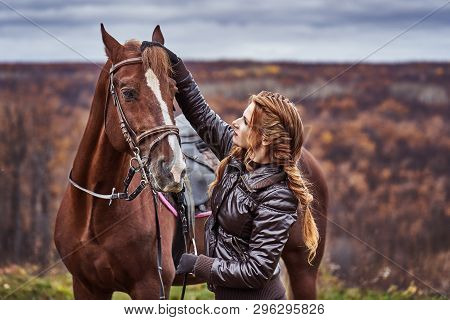 A Young Woman With Brown Curly Hair Caresses A Brown Horse. The Horse Caresses The Woman. Woman On A