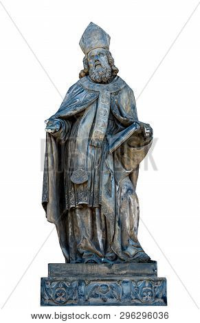 Old Statue Of Saint, On A White Background, Isolate