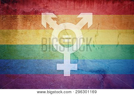 No Discrimination Lgbt Flag And Transgender Symbol With Equal Sign Inside Painted Over A Cracked Con