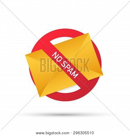 No Spam With Envelope. Spam Email Warning. Concept Of Virus, Piracy, Hacking And Security. Envelope