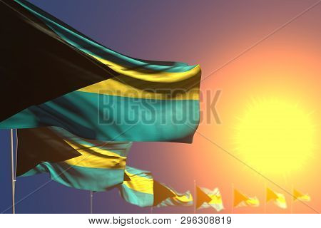 Pretty Many Bahamas Flags On Sunset Placed Diagonal With Bokeh And Place For Content - Any Feast Fla