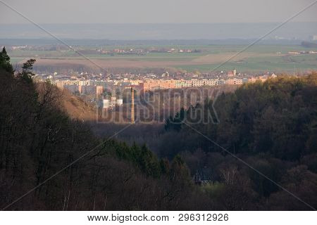 Czech City Of Jirkov In Ore Mountains At Spring Evening On 4. April 2019