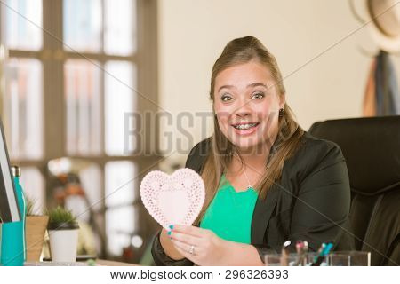 Young Creative Professional Woman Reacting Positively To Valentine Message