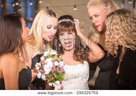 Pretty Mature Bride Crying With Her Friends
