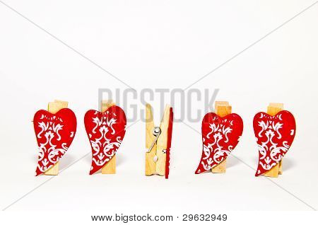 Red heart clothes pins