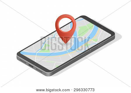 City Map Route Navigation Smartphone, Phone Point Marker Vector Drawing Schema Isometric City Plan G