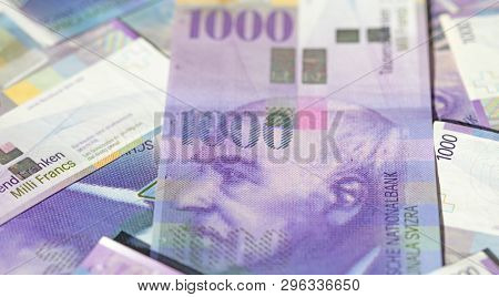 Collection of the Swiss 1000 franks banknotes. 1000 franks note is one of the most valueable banknotes in the world. The current 1000 franks banknotes are in circulation in Switzerland since 1995.