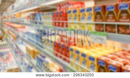 Blurred supermarket shelvses background