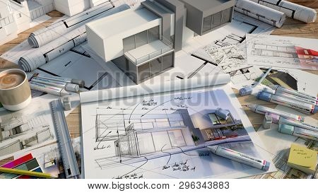 3D rendering of an architects desktop with a house mock up, markers, color swatches, layout block with house design and multiple drafts