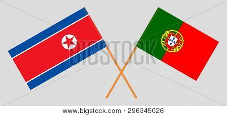 North Korea And Portugal. The Korean And Portuguese Flags. Official Colors. Correct Proportion. Vect