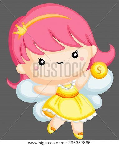 A Vector Of A Tooth Fairy Holding A Coin