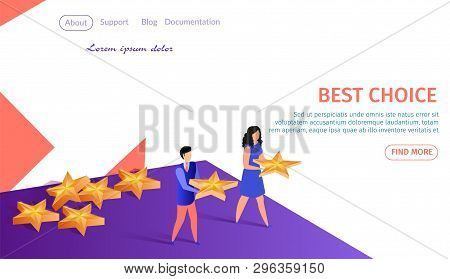 Best Choice Horizontal Banner With Copy Space. Young Man And Woman Holding Golden Stars In Hands. Cu