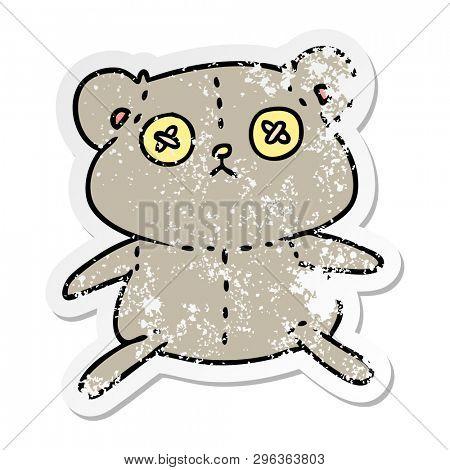 freehand drawn distressed sticker cartoon of a cute stiched up teddy bear