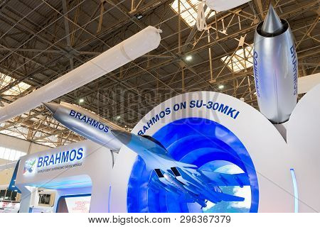 Bengaluru, India - February 22, 2019: Supersonic Cruise Missile Brahmos Made By India On Display At