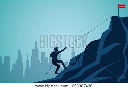 Businessmen Are Climbing Up A Mountain With A Rope. To The Red Flag Target On The Cliff. Business Fi