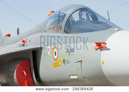 Bengaluru, India - February 22, 2019: Close Up View Of The Cockpit Of The Hal Aircraft Tejas On Disp