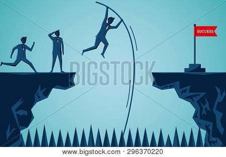 Businessmen Competition Are Jumping Using Wood To Help From Cliff Go To The Opposite The Red Flag Ta