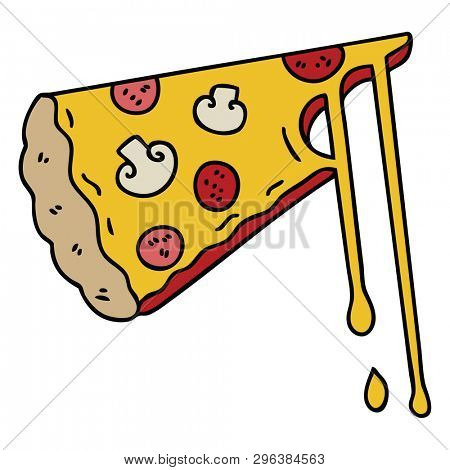 hand drawn quirky cartoon cheesy pizza poster