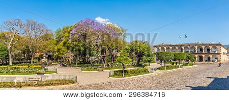 Antigua,guatemala - March 4,2019 - Panoramic View At The Mayor Place With City Hall In Antigua Guate