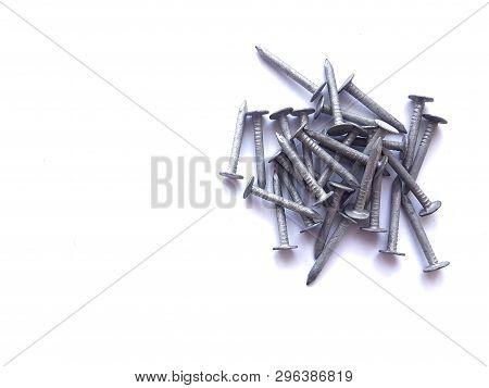 Old Zink Nails Isolated On White Background