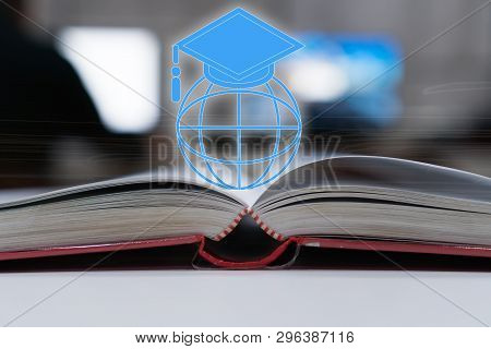 Concept of online learning graduation university study global international for long distane learning. Master degree hat on top globe book. Creative for success in education abroad international. poster