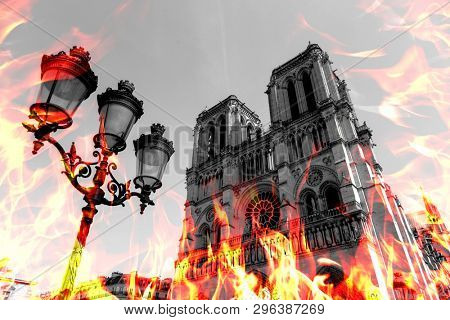Notre Dame Cathedral burning by massive fire, representation. Notre-Dame de Paris in fire. Photo manipulated illustration