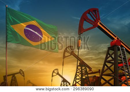 Brazil Oil Industry Concept, Industrial Illustration. Fluttering Brazil Flag And Oil Wells On The Bl