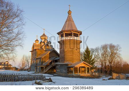 The Old Wooden Church Of Dmitri The Theunite Myrrh-streaming In Close-ups In The Rays Of The Setting