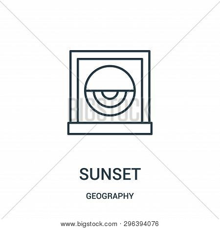 Sunset Icon Isolated On White Background From Geography Collection. Sunset Icon Trendy And Modern Su