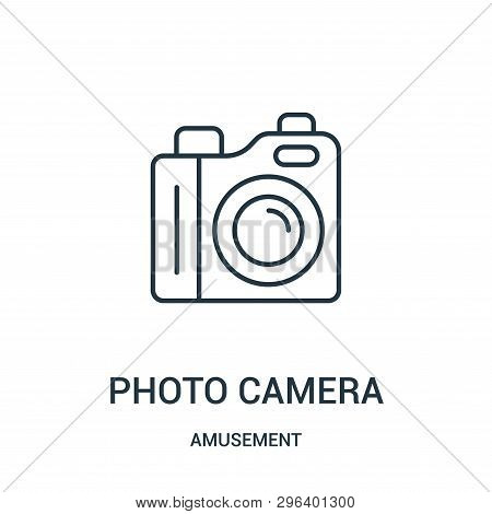 Photo Camera Icon Isolated On White Background From Amusement Collection. Photo Camera Icon Trendy A