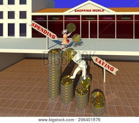 Family Budget 3d Illustration. A Frugal Husband Character Saving And An Extravagant Wife Character S