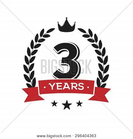3 Rd Birthday Vintage Logo Template. Third Years Anniversary Retro Isolated Vector Emblem With Red R