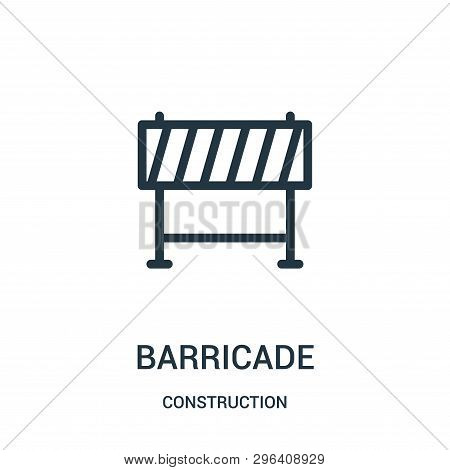 Barricade Icon Isolated On White Background From Construction Collection. Barricade Icon Trendy And