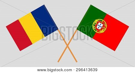 Portugal And Romania. The Portuguese And Romanian Flags. Official Colors. Correct Proportion. Vector