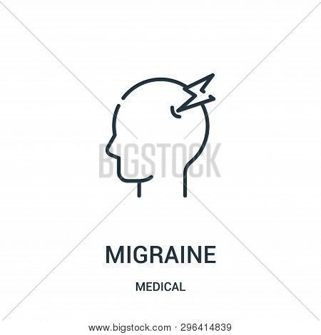 Migraine Icon Isolated On White Background From Medical Collection. Migraine Icon Trendy And Modern