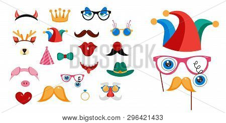 Big Photo Booth Props Set For Birthday Or Party Vector Illustration. Printable Icons For Mustache, H
