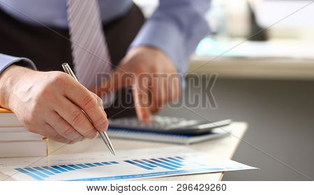 Revenue Money Calculation Cash Expenses Expertise. Accountant Or Executive Manager Counting Credit P