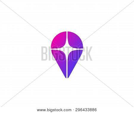 Pin Logo Design. Location Finder Star Vector Logotype