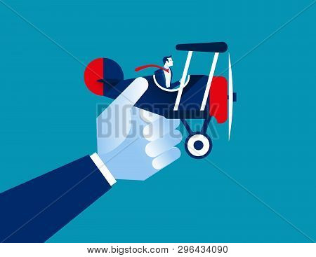 Businessman And Airplane. Concept Business Vector Illustration.