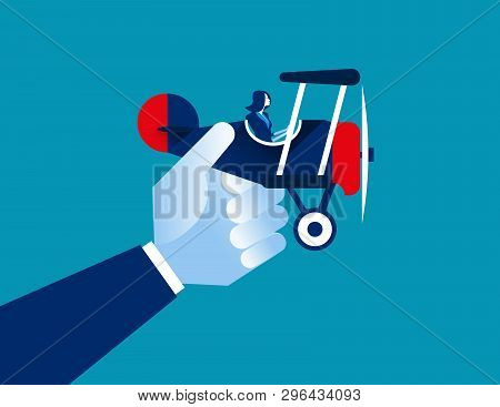 Businesswoman And Airplane. Concept Business Vector Illustration.