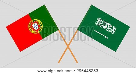 Portugal And Kingdom Of Saudi Arabia. The Portuguese And Ksa Flags. Official Colors. Correct Proport
