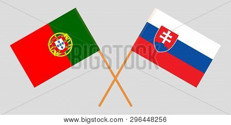 Portugal And Slovakia. The Portuguese And Slovakian Flags. Official Colors. Correct Proportion. Vect