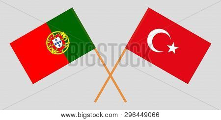 Portugal And Turkey. The Portuguese And Turkish Flags. Official Colors. Correct Proportion. Vector I