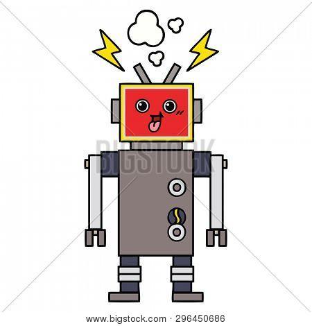 cute cartoon of a crazed robot