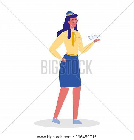 Flight Attendant In Uniform Vector Illustration. Stewardess Holding Airplane Model. Woman With Paper