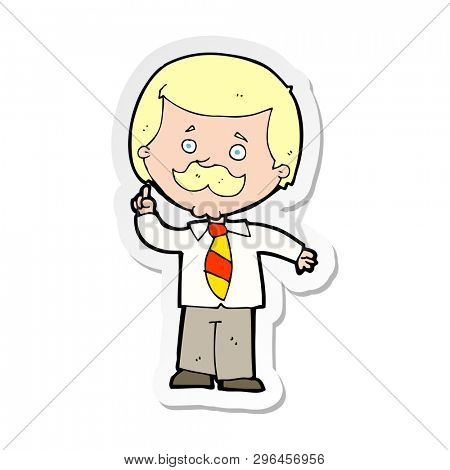 sticker of a cartoon newsreader man with idea