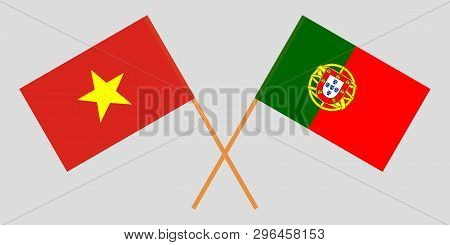 Portugal And Vietnam. The Portuguese And Vietnamese Flags. Official Colors. Correct Proportion. Vect