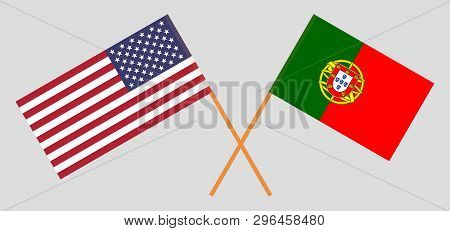 Usa And Portugal. The United States Of America And Portuguese Flags. Official Colors. Correct Propor