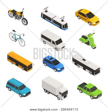 City Transport Isometric Icon Set With Different Isolated Taxi Bus Bike Motorcycle Trolley Bus Picku