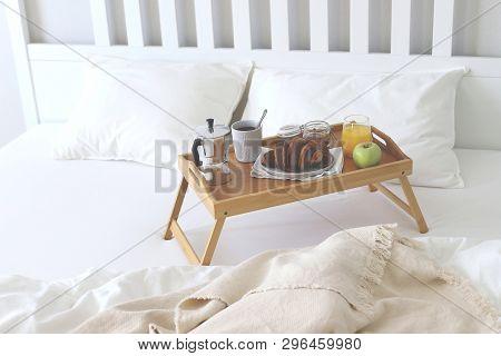 Morning Breakfast In Bed. Coffee Croissants, Fresh Orange Juice. Copy Space.